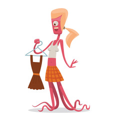 Vector cartoon image of a funny pink monster female with blond hair, with one eye, with two arms and tentacles instead of legs, with a brown dress in her hand on a light background.