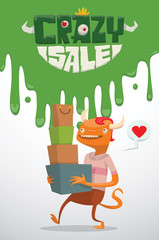 Vector advertising flyer with green slime on top, and with cartoon image of a funny orange monster male with red hair with bunch of bags and boxes from stores, from the bottom on a light background.