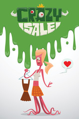 Vector advertising flyer with green slime on top, and with cartoon image of a funny pink monster female with blond hair with a brown dress in her hand, from the bottom on a light background.