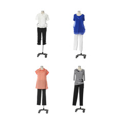 Female clothing on four mannequin isolated on whit background