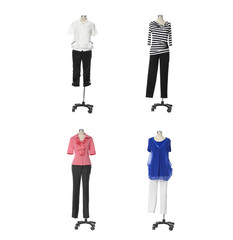Female clothing on four mannequin isolated