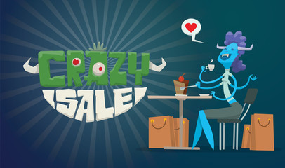 Vector horizontal advertising flyer with green-white lettering on the left and a funny blue monster female with purple hair with bunch of beige bags from stores on the right on a dark blue background.