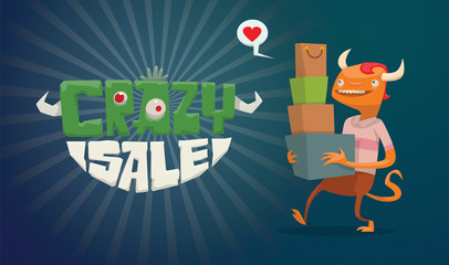 Vector horizontal advertising flyer with green-white lettering on the left and a funny orange monster male with red hair with a bunch of bags, boxes from stores on the right on a dark blue background.