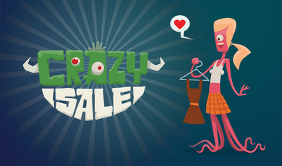 Vector horizontal advertising flyer with green-white lettering on the left and a funny pink monster female with blond hair with a brown dress in her hand on the right on a dark blue background.