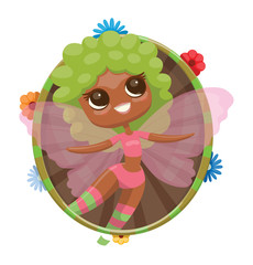 Vector round green-brown frame with colorful flowers and with cartoon image of a cute female fairy with big eyes, curly green hair, with a light pink wings in pink shorts, top on a light background.