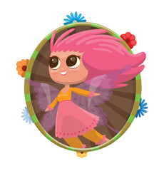 Vector round green-brown frame with colorful flowers and with cartoon image of a cute female fairy with big eyes, wavy pink hair, with light purple wings in an orange-pink dress on a light background.