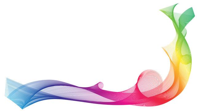 Rainbow ribbon wave on white background. Vector illustration.