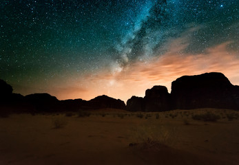 Night in Wadi Rum desert. Jordan