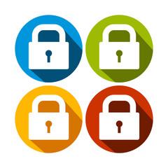 Simple Locked Padlock Circle Icon Set