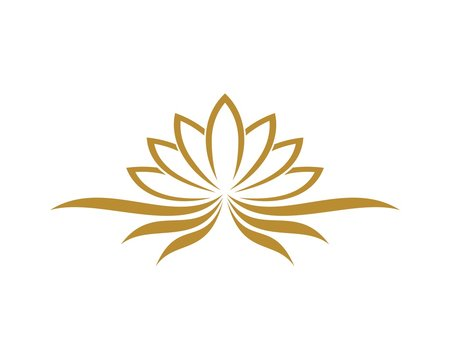 gold lotus flower for spa or massage logo