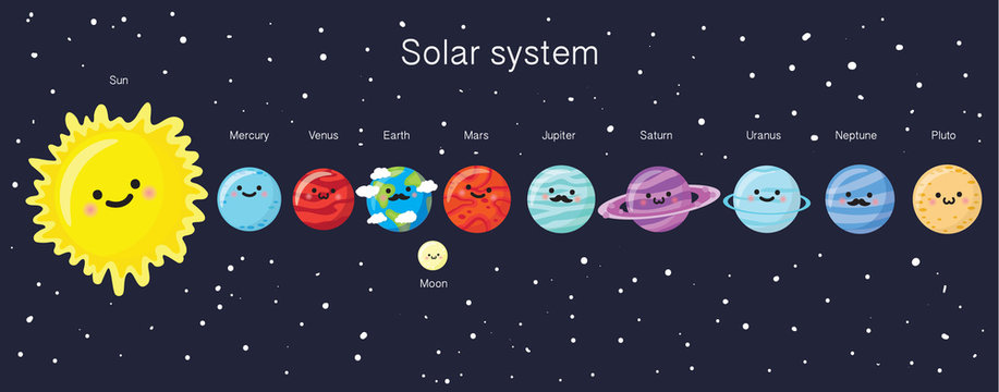 Solar system with cute smiling planets, sun and moon.