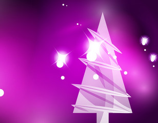 Christmas purple abstract background with white transparent snowflakes