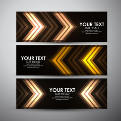 Abstract gold arrow pattern. Vector banners set background.
