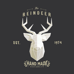 Polygonal hipster logo with head of deer
