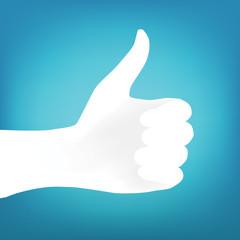 Hand silhouette vector. Thumb up. Like finger.