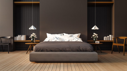 Fototapeta Loft and modern bedroom / 3D render image obraz