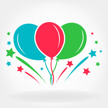 balloons and fireworks logo