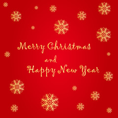 Merry Christmas and Happy New Year text label on a red background with snow and snowflakes