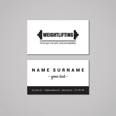 Sport & fitness vintage business card design concept. Sport logo with barbell. Vintage, hipster and retro style. Black and white.