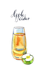 Apple cider in glass and green apple