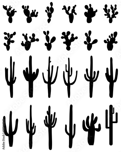 """Black silhouettes of different cactus, vector"" Stock ..."