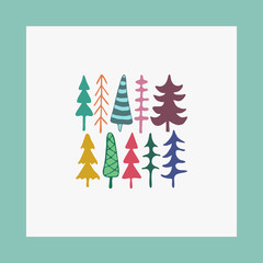 Greeting card fir christmas trees