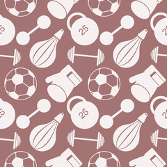 Seamless vector pattern.  Background with  closeup sports equipment. Soccer ball, punching bag, gloves, barbells, dumbbells and weight.