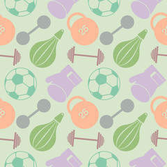 Seamless vector pattern. Pastel background with closeup colorful sports equipment. Soccer ball, punching bag, gloves, barbells, dumbbells and weight.