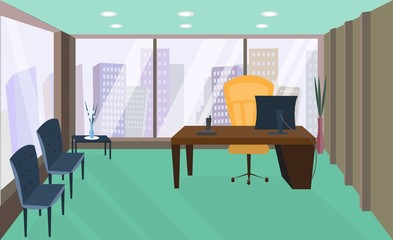 Office interior. Office room. Vector office interior in flat style. Armchair and table, computer and   phone, view from the window on megapolis, skyscrapers. Business concept