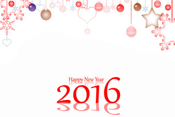 Happy New Year 2016 and snow background