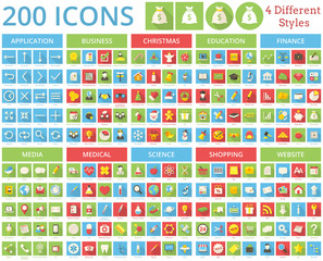 Set of 200 icons. 4 Different Styles.