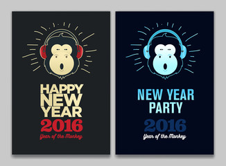 Happy New Year 2016 Flyer, Banner or Pamphlet. Funny monkey with headphones. Eve Party celebration template.