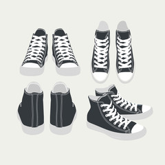 set of vector isolated cartoon black sneakers