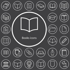 books outline, thin, flat, digital icon set