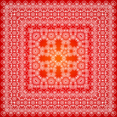 Red ornate shawl vector pattern