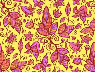 Abstract ornate shining flower seamless pattern