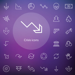 crisis outline, thin, flat, digital icon set