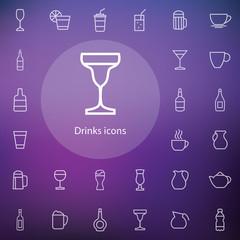 drinks outline, thin, flat, digital icon set