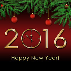 Happy New Year 2016  background with gold clock