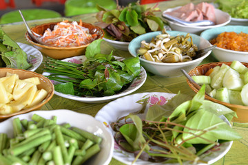 Thai southern style vegetables normally having with curry rice noodle curry, Phang Nga, Thailand