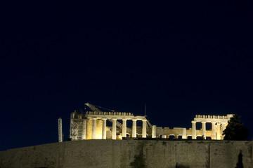 La massima attrazione di Atene (Grecia). L'acropoli in notturna