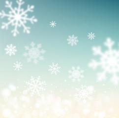 vector Christmas background with snowflakes blurred in the backg