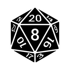 20 sided / 20d dice with numbers flat icon for apps and websites