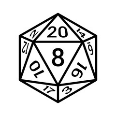 20 sided / 20d dice with numbers line art icon for apps and websites