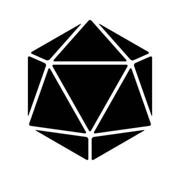 20 sided / 20d dice flat icon for apps and websites