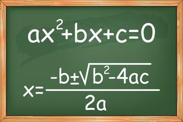 Mathematics, second degree equation on chalkboard vector