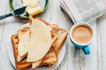 Breakfast with coffee, toasts, butter and jam
