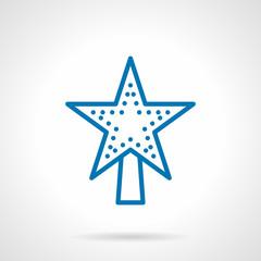 Xmas decor star vector icon blue line style