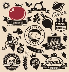 Vegetables icons, labels, signs, symbols and design elements