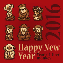Year of ther monkey 2016. Happy New Year